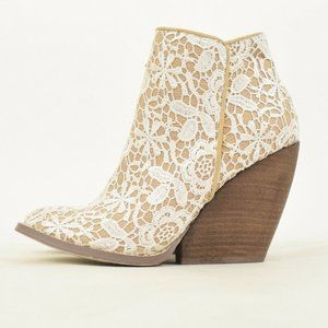 Very Volatile White Crochet Lace Ankle Booties